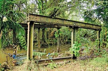 GLIMPESES OF HORRIBLE EVENT: The steel pillars of the old 'Whitehouse Palama' where the crime took place on the bridge.