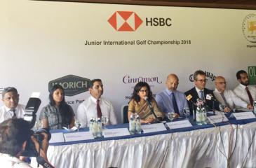 Council member Sri Lanka Golf Union Niloo Jayatilleke, president of the Sri Lanka Golf Union, Air Chief Marshal Harsha Abeywickrema and Chief Executive Officer HSBC, Mark Prothero at the media launch