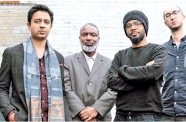 Vijay Iyer (2nd from left) with his Sextet