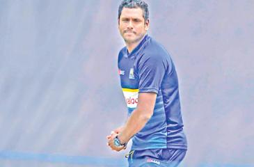 Angelo Mathews the Sri Lankan captain plays an imaginary shot on the wicket that is being prepared for today's third ODI against South Africa at the Pallekele Stadium.  Pic: Susantha Wijegunasekera