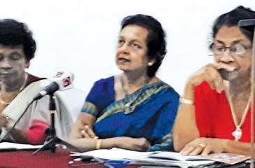 From Left:  Jeewani Sugunadasa, General Secretary; Thilaka Perera, President and Swarna Premaratne, Project Committee Chairperson of Lanka Mahila Samiti at the media briefing