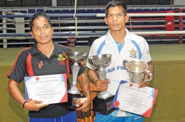 Chandrika (left) and Kumara with their trophies