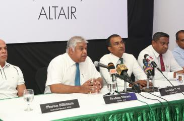 Pradeep Moraes - Director Altair (left) and Avancka Herat - Captain RCGC talk to the Press