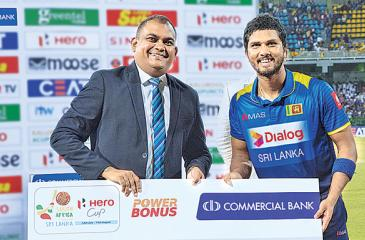 Dinesh Chandimal marked his return to the Sri Lanka team with an unbeaten 36 to steer the side to a three-wicket win over South Africa in their lowing scoring one-off T20 International at the Premadasa Cricket Stadium in Colombo last Tuesday. He was adjudged what was called the Commercial Bank Power Bonus Player of the Match and received an award from Hasrath Munasinghe the bank's Deputy General Manager for Marketing