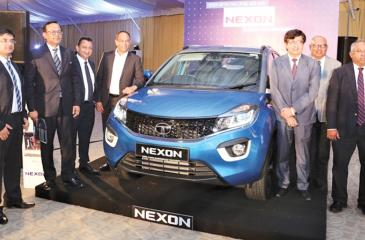 The DIMO management team and Tata Motors officials introduce the Tata NEXON Compact SUV in Sri Lanka. Pic: Chaminda Niroshana