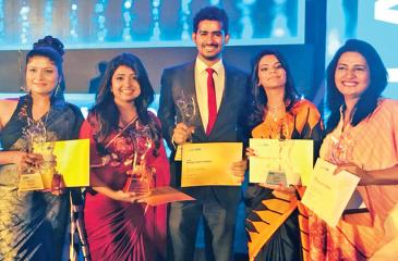 From left: Tharika Dilshani, Prajani Pieris, Malen Cabandugama, Dilini Saminda and Hiranthi Kasundari celebrating theirs wins for Seylan Bank at the SLIM NASCO Awards 2018
