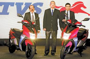 From left: Nana Rav, Director - Operations TVS Lanka Pvt. Ltd., R Dilip, Senior Vice President - International Business at TVS Motor Company, and Ravi Liyanage, Chief Executive Officer of TVS Lanka Pvt. Ltd