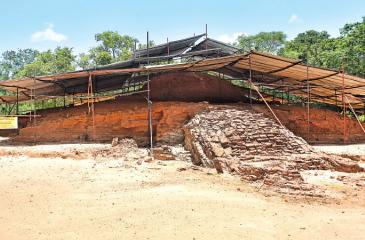 MAGNIFICENT MONUMENTS: The glorious brick built ruined dagoba seen after excavations