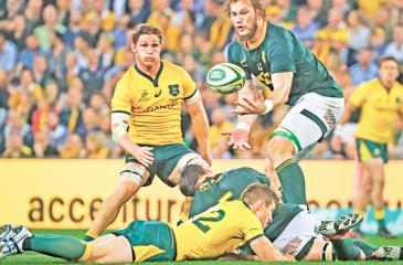 South Africa's RG Snyman (R) catches a high ball during their Rugby Championship Test match against Australia last week in Brisbane AFP