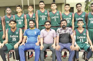 The Zahira College squad: Seated from left: Akthar Ameer (Captain), Asanka Perera (Asst. Coach), Ahnaf Khan (M.I.C.), Samson de Mel (Head Coach), Ashfaaq Ahamed (Vice Captain). Standing from left: R. Fathany, M. F. M. Nafeel, Sūd Ibrahim, M. R. M. Rikaz, M. Minhaj, Hussein Ziyard, M. Ruzaik, Abdul Hameed,        M. H. M. Hishni. Absent: Ashir, Abdul Majid, Abdul Hadi, Asthak