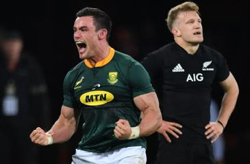 South Africa's Jesse Kriel celebrates victory during their Rugby Championship match against New Zealand in Wellington yesterday AFP