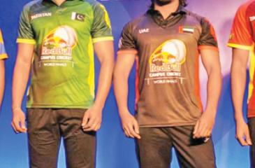 The coloured clothing that will be worn by the teams. From left: Bangladesh, India, Pakistan, UAE, Zimbawe and Sri Lanka