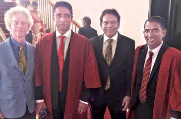 Founder CEO, Ubiquity University, Dr. Jim Garrison, Chairman/Managing Director, ESOFT, Dr. Dayan Rajapakse, Group Chief Executive Officer, Maliban Biscuit Manufactories, Ravi Jayawardena and Chief Operating Officer, ESOFT-Colombo, Dilan Perera.