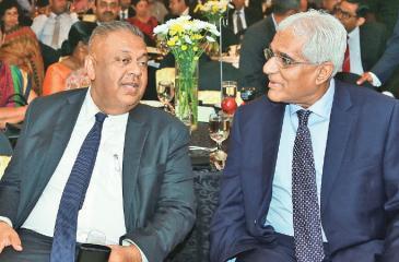 Finance Minister Mangala Samaraweera and Central Bank Governor Dr. Indrajith Coomaraswamy