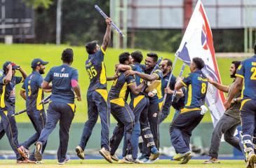 Sri Lankan players celebrate victory