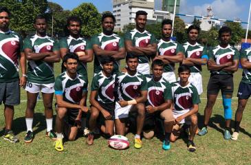 The Malays rugby squad: Standing from left: Amjad Buksh, Mohamed Huzaik, Mohamed Naleef, Anas Rizvi, Farshad Hassan, Imran Alibah, Tuan Miskin, Mohammed Nafees, Luqman Ahamat. Seated from left: Ikrima Samman, Shafraz Nizmi, Ashraff Nazar, Shazly Cuncheer, Hakeem Zain