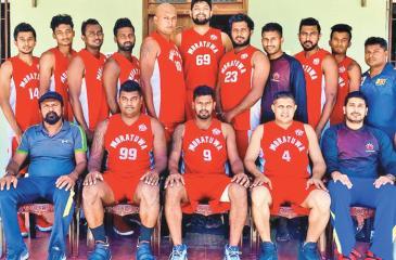 The champion Moratuwa Basketball Club. Seated from left Samson de Mel (head coach), Asanka Suwaris, Sanitha de Mel (captain), Gayan Meedeniya, Sameera Fernando (coach). Standing from left: Clifford Shenal, Ashan de Silva, Sudesh Nonis, Shawn Paul, Shiranka Fonseka, Chenud Gaveesha, Diluk Fernando, Sachintha Fernando (manager), Mathew Suren, Sanjana Senarath, U Dissanayake (physio)