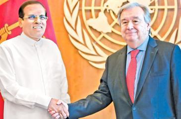 President Maithripala Sirisena with United Nations Secretary General Antonio Guterres
