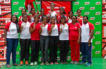 The Ladies College Under-18 netball squad comprising Sarisha Gunasekara (captain), Nuwangi Gunawardane, Bimanya Ratnayake, Ovidini Daluwatte, Sulani de Silva, Anika Seneviratne, Ganya Senanayake, Aanya Perera, Raisah Noorhamith, Nimna Wickramasinghe, Dilumi Hemasinghe and Subavi Perera pose with their medals