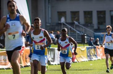 Asanka Nilaweera and Suresh Kelum competing in the Modern Pentathlon Laser run in Dublin, Ireland