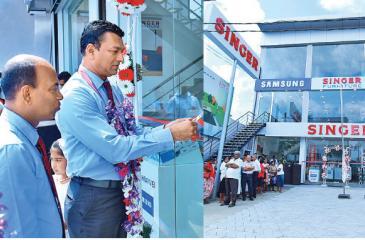 Chief Operating Officer Singer (Sri Lanka) PLC Mahesh Wijewardana opens the showroom