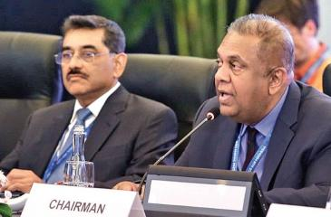 Finance Minister Mangala Samaraweera and Deputy Governor, Central Bank, Dr. P. Nandalal Weerasinghe at the Inter-governmental Group of 24 meeting on International Monetary Affairs and Development in Bali, Indonesia.