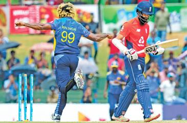 Lasith Malinga celebrates after he dismissed England batsman Moeen Ali during their second one day international in Dambulla yesterday   Photo by LAKRUWAN WANNIARACHCHI / AFP