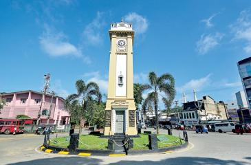 STILL IMPOSING: A century old magnificent clock tower stands in the heart of the town