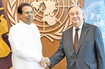 President Maithripala Sirisena meets with UN Secretary General Antonio Guterres