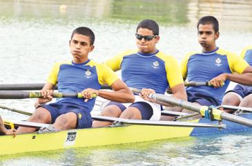 The Royal B Fours team, Chaniru Hewamanne, Jatu Rockwood, Maliq Hassen, Mayukha Gamage and Deelaka Mahale after the completion of the B Fours race Pic: Saman Mendis