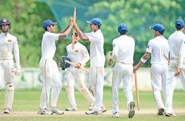 Sri Lanka celebrate their victory over Bangladesh in the second 4-day under 19 cricket test at Katunayake on Friday