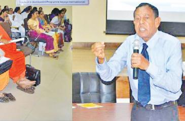 Director G. C. Mendis addressing the seminar. Executive Director Samantha  Liyanawaduge is also in the picture.