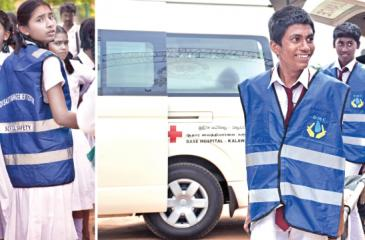 Students participating in the tsunami drill