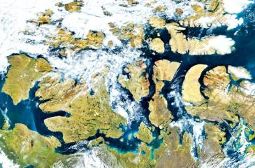 A nearly ice-free Northwest Passage in the Arctic in August 2016. Pic: VIIRS/Suomi NPP/Nasa