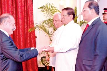 The Government of the Republic of France with the concurrence of the Government of Sri Lanka, has appointed Eric Lavertu as the Ambassador of France to Sri Lanka. He presented his credentials to President Maithripala Sirisena, on November 1, 2018 at the President's House, Colombo.