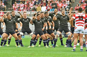 New Zealand's All Blacks perform Haka prior to their rugby union International Test match against Japan in Tokyo