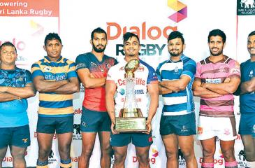 Club captains pose with the Dialog League trophy they will play for. From left:  Lahiru Udayanga (Air Force SC), Manoj Abeyratne (Army), Kavindu Perera (CR), Richard Dharmapala (Kandy SC), Thilina Weerasinghe (Navy SC), Niroshan Fernando (Havelocks) and Chanaka Suriyapperuma (Police). Absent: Yoshitha Rajapaksa (CH Captain) Picture by Rukmal Gamage