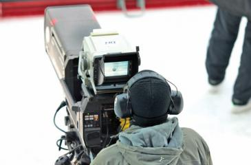 A TV studio camera being operated