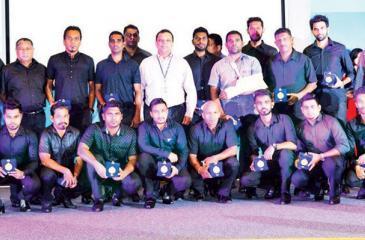 The football team comprising (standing from left) M Aslam, BRA Preena, SP Wickramathilake, NC Abeyasekara, SD Thilakarathne, Salanuwan Gunawardena, TP Agalawatte, MMM Mufees, Duminda Gunawardena, Teshan Fernando and A Wambek along with (squatting) Suraj Dissanayake, TS Faleel, Asiri Hewage, Dilshan Fonseka, IP Gunaratne, DM Pramuditha, RC Chathuranga and Lahiru Seneviratne