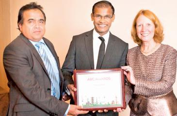 From left: General Manager / Corporate Relations, SLT, Rohana Ellawala, Company Secretary, SLT, Mahesh Athukorale and President, MerCommInc, International Awards Programs, Reni Witt at the Awards presentation.