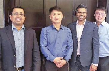 Standing (from left): Director Cenmetrix, Ziyam Kamil, Director Hanman Singapore, William Baek, Director Cemnmetrix, Farhard Hussain, Manager Hanman Singapore, Kenny Tan.