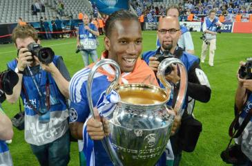 Didier Drogba with one of his trophies
