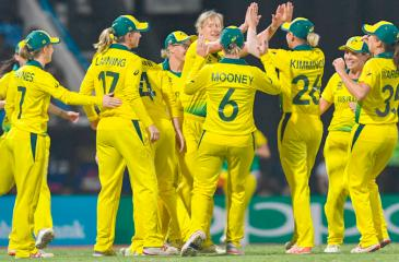 Australia's women celebrate their entry into the World T20 final ( AFP)