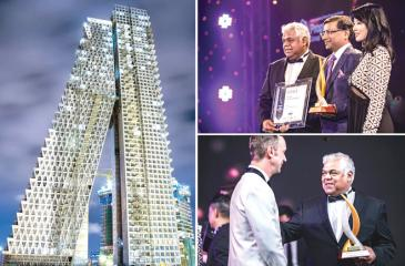 The award-winning Altair twin tower and (top right) Altair Directors Jaideep Halwasiya and Pradeep Moraes receive the award from Lim Wenhui, Partner, SPARK Architects and Head Judge at the Asia Property Awards, Singapore; (bottom right) Altair Director Pradeep Moraes with Managing Director, Asia Property Awards and Property Report of PropertyGuru, Terry Blackburn.