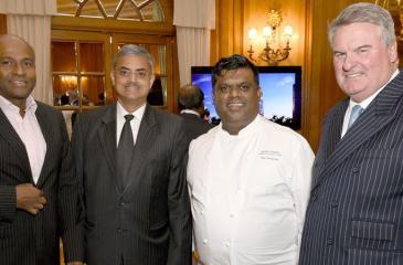 Ananth Mahadeva, Arun Pathak, Mario Perera, Charles Phillpot at the Sapphire Residences Colombo launch at The Dorchester Hotel in London. - Pic: Edward Lloyd/Alpha Press