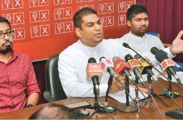 MP Kanchana Wijesekara addresses the media Pic: Wimal Karunathilaka