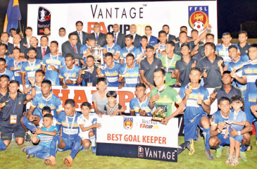 The champion Army team celebrates with the trophy Pic: Thilak Perera