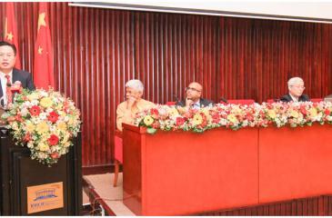 Chinese Ambassador Cheng Xueyuan addressing the gathering . Pix: Courtesy BCIS