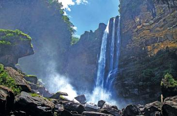 SYLVAN SURROUNDINGS: The Laxapana Falls cascades down with a breathtaking view