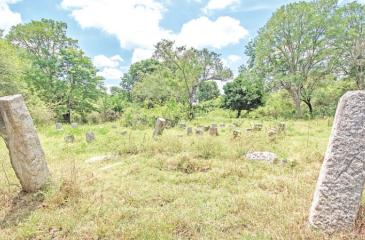 Imposing ruins of ancient stone pillars scattered across the Galtemmandiya archaeological site